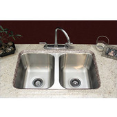 33''W x 18-1/2''D x 10''H Double Bowl Sink for Undermount Installation