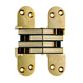® Invisible Hinge, Zinc Bodies and Steel Links, Bright Brass Finish