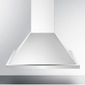 24'' ADA Compliant European Wall-Mounted Range Hood in Stainless Steel with Remote Wall Switch, 23-5/8'' W x 19-5/8'' D x 36'' H