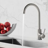 STYLISH International STYLISH™ Kitchen Sink Faucet Single Handle In Stainless Steel Brushed Finish, Spout Reach: 9-1/4'', Faucet Height: 14-3/4''