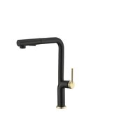 STYLISH International STYLISH™ Kitchen Sink Faucet Single Handle Pull Down Dual Mode In Stainless Steel Matte Black with Gold Base and Handle Finish, Spout Reach: 8-3/4'', Faucet Height: 13-1/8''