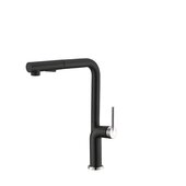 STYLISH International STYLISH™ Kitchen Sink Faucet Single Handle Pull Down Dual Mode In Stainless Steel Matte Black with Silver Base and Handle Finish, Spout Reach: 8-5/16'', Faucet Height: 13-1/8''