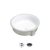 STYLISH International STYLISH™ 16'' Diameter Round Undermount Ceramic White Bathroom Sink with 2 Overflow Finishes, 16'' Diameter x 4-1/2'' H