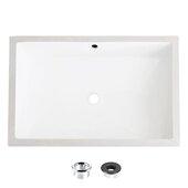STYLISH International STYLISH™ 24'' W Rectangular White Undermount Ceramic Bathroom Sink with 2 Overflow Finishes, 24'' W x 16'' D x 4-1/2'' H