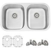 STYLISH International STYLISH™ 33'' 18 Gauge Double Bowl Undermount and Drop-in Kitchen Sink with Included Sink Grids (x2) and Strainers (x2), 32-1/4'' W x 18-1/2'' D x 9'' H
