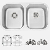 STYLISH International STYLISH™ 33'' 16 Gauge Double Bowl Undermount and Drop-in Kitchen Sink with Included Sink Grids (x2) and Strainers (x2), 32-1/4'' W x 18-1/2'' D x 9'' H
