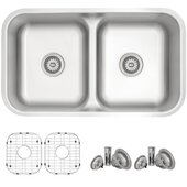 STYLISH International STYLISH™ 32'' Low Divider Double Undermount and Drop-in Kitchen Sink Set with included Sink Grids (x2) and Strainers (x2), 32-1/4'' W x 18-7/8'' D x 9'' H
