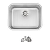 STYLISH International STYLISH™ 23'' W Single Bowl Undermount and Drop-in Stainless Steel Kitchen Sink with Included Strainer, 23-1/8'' W x 18'' D x 9'' H