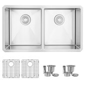 STYLISH International STYLISH™ 32'' W 18 Gauge Double Bowl Undermount Stainless Steel Kitchen Sink with Included Grids (x2) and Strainers (x2), 32'' W x 18'' D x 10'' H