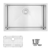 STYLISH International STYLISH™ 28'' W Single Bowl Drop-in/Undermount 18 Gauge Stainless Steel Kitchen Sink with Included Sink Grid and Strainer, 28'' W x 18'' D x 10'' H
