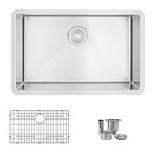 STYLISH International STYLISH™ 28'' W Single Bowl Undermount 16 Gauge Stainless Steel Kitchen Sink with Included Sink Grid and Strainer, 28'' W x 18'' D x 10'' H
