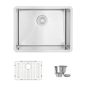 STYLISH International STYLISH™ 23'' W Single Bowl Undermount Stainless Steel Kitchen Sink with Included Sink Grid and Strainer, 23'' W x 18'' D x 10'' H