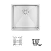 STYLISH International STYLISH™ 19'' W Single Bowl Undermount Stainless Steel Bar Kitchen Sink with Included Sink Grid and Strainer, 19'' W x 18'' D x 10'' H