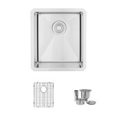 STYLISH International STYLISH™ 16'' W Single Bowl Undermount Stainless Steel Bar Kitchen Sink with Included Sink Grid and Strainer, 16'' W x 18'' D x 10'' H