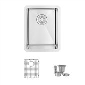 STYLISH International STYLISH™ 14'' W Single Bowl Undermount Stainless Steel Bar Kitchen Sink Set with Included Sink Grid and Strainer, 14'' W x 18'' D x 10'' H