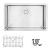 STYLISH™ 30'' Single Bowl Undermount Stainless Steel Kitchen Sink with Inlcuded Sink Grid and Strainer, 30'' W x 18'' D x 10'' H