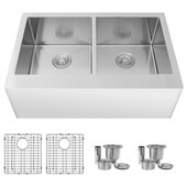 STYLISH International STYLISH™ 33'' W Farmhouse Double Bowl Stainless Steel Apron Kitchen Sink with Included Sink Grids (x2) and Strainers (x2), 33'' W x 20-3/4'' D x 10'' H