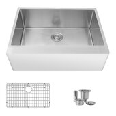 STYLISH International STYLISH™ 30'' W Farmhouse Front Apron Stainless Steel Single Bowl Kitchen Sink with Included Grid and Strainer, 30'' W x 22'' D x 10'' H