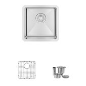 STYLISH International STYLISH™ 15'' W Single Bowl Undermount Stainless Steel Kitchen Sink Set with Included Grid and Strainer, 15'' W x 15'' D x 8'' H