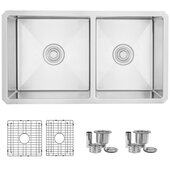 STYLISH™ 33'' Double Bowl 60/40 Reversible Undermount 16G Stainless Steel Kitchen Sink, 33'' W x 18'' D x 10'' H