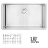 STYLISH™ 32'' Single Bowl Undermount 16G Stainless Steel Kitchen Sink with Grid and Strainer, 32'' W x 18'' D x 10'' H