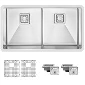 STYLISH International STYLISH™ 33'' W Slim Low Divider Double Bowl Undermount Stainless Steel Kitchen Sink with Included Grids (x2) and Square Strainers (x2), 33'' W x 18'' D x 10'' H