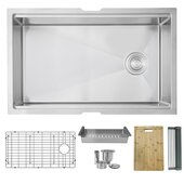 STYLISH™ 30'' Workstation Single Bowl Undermount 16 Gauge Stainless Steel Kitchen Sink with Grid, Strainer, Colander, Drying Rack and Cuttingboard, 30'' W x 19'' D x 10'' H