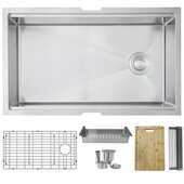 STYLISH™ 33'' Workstation Single Bowl Undermount 16 Gauge Stainless Steel Kitchen Sink with Grid, Strainer, Colander, Drying Rack and Cuttingboard, 33'' W x 19'' D x 10'' H