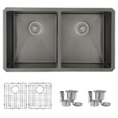 STYLISH International STYLISH™ 32'' W Graphite Black Double Bowl Undermount Stainless Steel Kitchen Sink with Included Grids (x2) and Basket Strainers (x2), 32'' W x 18'' D x 9'' H