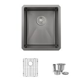 STYLISH International STYLISH™ 16'' W Graphite Single Bowl Undermount Stainless Steel Kitchen Sink with Included Grid and Basket Strainer, 16'' W x 18'' D x 9'' H