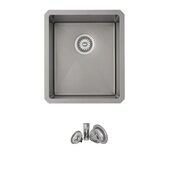 STYLISH™ 16'' Graphite Black Single Bowl Undermount Stainless Steel Kitchen Sink, 16'' W x 18'' D x 9'' H