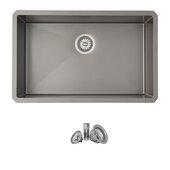 STYLISH™ 30'' Graphite Black Single Bowl Undermount Stainless Steel Kitchen Sink, 30'' W x 18'' D x 9'' H