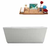 59'' Rectangular Freestanding Soaking Bathtub In White, Included Internal Drain In Polished Chrome and FREE Natural Bamboo Wood Tray, 59-1/8''W x 31-1/2''D x 22-13/16''H