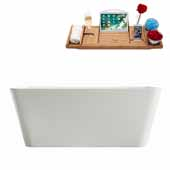 59'' Rectangular Freestanding Soaking Bathtub In White, Included Internal Drain In Polished Chrome and FREE Natural Bamboo Wood Tray, 59-1/8''W x 29-1/2''D x 22-13/16''H