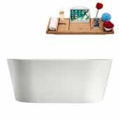 58'' Oval Freestanding Soaking Bathtub In White, Included Internal Drain In Polished Chrome and FREE Natural Bamboo Wood Tray, 58-5/16''W x 29-1/2''D x 22-3/8''H