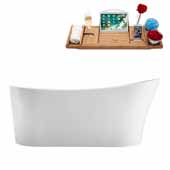 67'' Oval Freestanding Soaking Bathtub In White, Included Internal Drain In Polished Chrome and FREE Natural Bamboo Wood Tray, 66-7/8''W x 31-1/2''D x 28-5/16''H