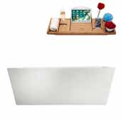 67'' Rectangular Freestanding Soaking Bathtub In White, Included Internal Drain In Polished Chrome and FREE Natural Bamboo Wood Tray, 66-7/8''W x 31-1/2''D x 22-13/16''H