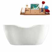 67'' Oval Freestanding Soaking Bathtub In White, Included Internal Drain In Polished Chrome and FREE Natural Bamboo Wood Tray, 66-7/8''W x 31-1/2''D x 27-3/16''H