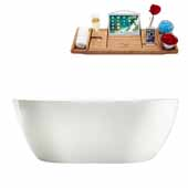 67'' Oval Freestanding Soaking Bathtub In White, Included Internal Drain In Polished Chrome and FREE Natural Bamboo Wood Tray, 66-7/8''W x 31-1/2''D x 22-13/16''H