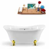 60'' Oval Soaking Tub In White With Gold Clawfoot, Included Chrome External Drain and FREE Natural Bamboo Wooden Tray, 60''W x 32''D x 26-13/16''H