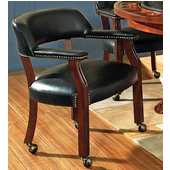 Tournament Arm Chair with Casters, Black, Cherry Finish