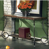 Ellery Sofa Table, Metal Base and Glass Top