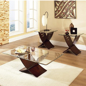 3 Piece Cafe Living Room Set, Glass Top and Espresso Finish Base