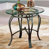 Madrid Round End Table, Glass Top and Metal Base