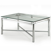 Nova Cocktail Table, Glass Top and Chrome Base