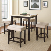 , 36''W x 36'' D x 36''H, Aberdeen 5Pc Ct Set with Dark driftwood Top and Rich brown finish frame/ legs