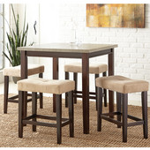 , 36''W x 36'' D x 36''H, Aberdeen 5Pc Ct Set with Faux Marble Top and Rich brown finish frame/ legs