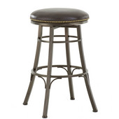 , 18''W x  18'' D x 30''H, Bali Backless Swivel Bar Stool in Welded metal frame and bonded leather seat