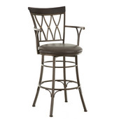 , 24'W x  24' D x 48'H, Bali Jumbo Swivel Bar Stool with Armrest in Welded metal frame and bonded leather seat