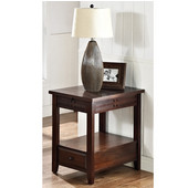 , 26'' W x  18'' D x 26''H, Crestline Chairside End Table in Mocha Cherry finish